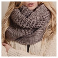 """Extra Large"" Thick Chunky Knit Mocha Infinity Scarf"