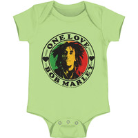 Bob Marley Boys' One Love Heart Bodysuit Green Rockabilia