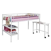 Cool Twin Loft Bed with Desk and Shelves in White by Walker Edison