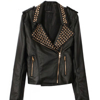 Rivet Zipper Leather Coat
