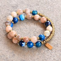 Independence and Confidence, Sunstone and Blue Lace Agate 27 Bead Mala Wrap Bracelet