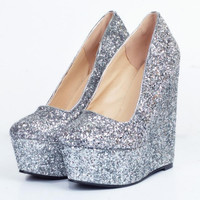 Platform Wedge Shoes Woman  Shallow Mouth Heels Pumps Ladies Sexy Glitter Party Wedding Heeled Shoes Size 34-47