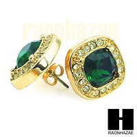 HipHop RICK ROSS Gold Tone Micro pave Emerald Green Bling Earrings G131