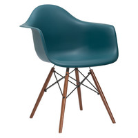 Mid-Century Slope Arm Chair Walnut Leg in Teal