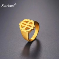 US Dollar Sign Ring Street Style Gold/Black Color Size 7/8/9/10/11/12 Stainless Steel Hip Hop