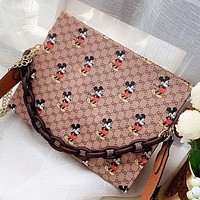 GUCCI & Disney New fashion more letter mouse leather shopping leisure shoulder bag crossbody bag handbag