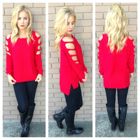 Red Shred Knit Sweater