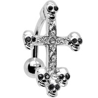 Black Gem Top Mount Skull Studded Gothic Cross Belly Ring   Body Candy Body Jewelry
