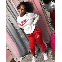 NIKE Women Fashion Long Sleeve Top Pants Set Two-Piece