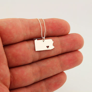 Pennsylvania necklace sterling silver i love Pennsylvania state necklace with heart comes with Box chain