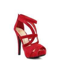 Red Suede 'Plunk' Strappy High Heel Shoes