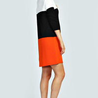 Chloe 3/4 Sleeve Colour Block Shift Dress