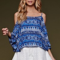 House of Harlow Off Shoulder Top - Womens Shirts - Blue