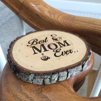 Custom Wood Coaster, Engraved Coaster, Mothers Day Gift, Wood Slice Coaster, Personalized Coaster, Birthday Gift, Coffee Coaster