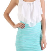 Ruffle Top Tube Dress - Mint