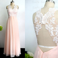 Blush Pink Long Lace Prom Dress, Chiffon Lace Long Formal Gown With Open Back, Blush Pink Wedding Party Dresses