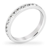Tessa 3.5ct Crystal White Gold Rhodium Eternity Band
