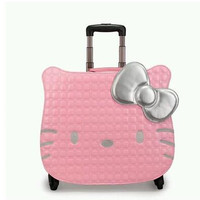 Women PU Travel Luggage Case suitcase Hello Kitty Travel Rolling Case On Wheels  18 Inch Travel Luggage Travel Bag trolley bag
