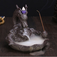 Dragon Incense Burner for Smoke Backflow Like Lotus Water Streaming Down Art Ceramic Craft Incense Cone Furnace Table Garden Home Decor
