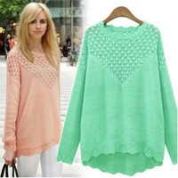 Hollow long-sleeved sweater AS107C (green)