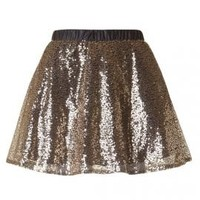 Glitz and Glamour Sequin Skater Mini Skirt in Gold | Sincerely Sweet Boutique