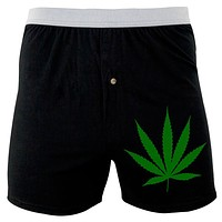 Weed Pot Leaf Soft Knit Boxer