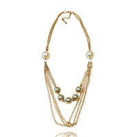 Cascading Faux Pearl  Chain Necklace
