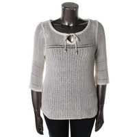 Lucky Brand Womens Plus Knit 3/4 Sleeves Pullover Sweater