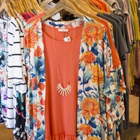 Tropical Floral Kimono, Orange Multi