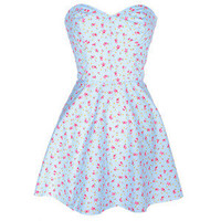 Style Icon's Closet 50s style Vintage Inspired Pin-Up African Print Retro Rockabilly Clothing — Strapless Blue Floral Dress