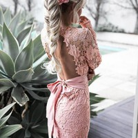Hollow back package hip dress dress lace