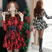 Cute sweet christmas princess grid dress