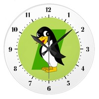 Cute penguin cartoon clock