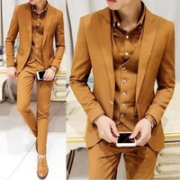 New Fashion designer prom suits Luxury Men Wedding dress slim fit Suit (Jacket+vest+pants)