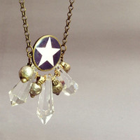 Star Statement Necklace. Handmade Tribal Fusion Jewelry. Star and Clear Antique Prisms. Geometric Brass Chain Necklace.