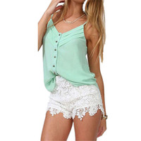 New Brand Korean Style 2015 Sexy Womens Summer Casual Sweet Cute Elastic Waist Lace short shorts Pants Plus Size