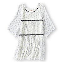GB Girls 7-16 Diamond-Print Peasant Dress - White