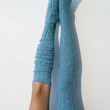Thigh High Socks, Biscay Bay Blue, Over the Knee Long Socks, Knitted Socks, Stockings, PM-088B