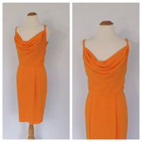 Vintage 80s does 1960s Chetta B Sherrie Bloom Peter Noviello Dress Structured Draped Wiggle Dress Bombshell Orange Cocktail Dress Couture