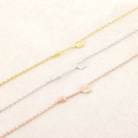 Tiny arrow bracelet in gold or silver, simple, everyday, chic bracelet