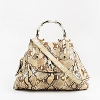 "Gucci Brown and Tan Genuine Python Leather GHW ""Pop"" Bamboo Handle Tote Bag"