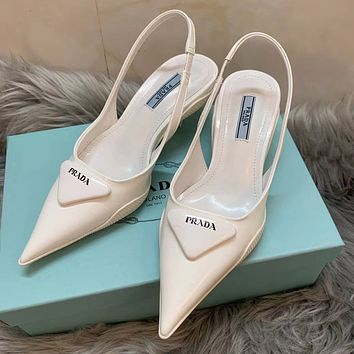 PRADA new solid color patent leather sandals ladies pointed high heels White