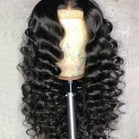 Cool 250% Density Loose Wave Lace Front Human Hair Wigs Brazilian Remy Hair Full 13X4 Lace Wig Bleaches Knots 8-24 InchesAT_93_12
