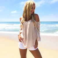 Charmed Off Shoulder Blouse In Mocha