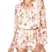 Light Pink V-Neckline Flower Print Chiffon Wrap Rompers