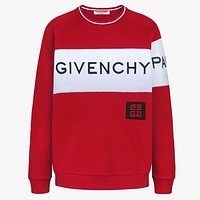 GIVENCHY autumn and winter new trend men's stitching long-sleeved embroidery letter round neck sweater Red