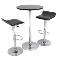 3 Piece Modern Dining Set with Bistro Table & Two Stools