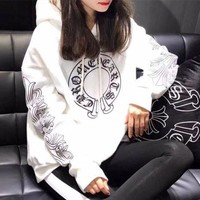 VONE05C Chrome Hearts' Women Casual Personality Lips Horseshoe Letter Print Loose Long Sleeve Hooded Sweater Tops