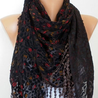 ON SALE - Red Black Scarf -  Shawl Scarf -  Cowl Scarf with Fringe - fatwoman