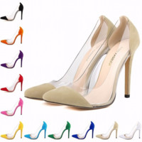 Beautiful Hollow Clear Point Toe High Heels
